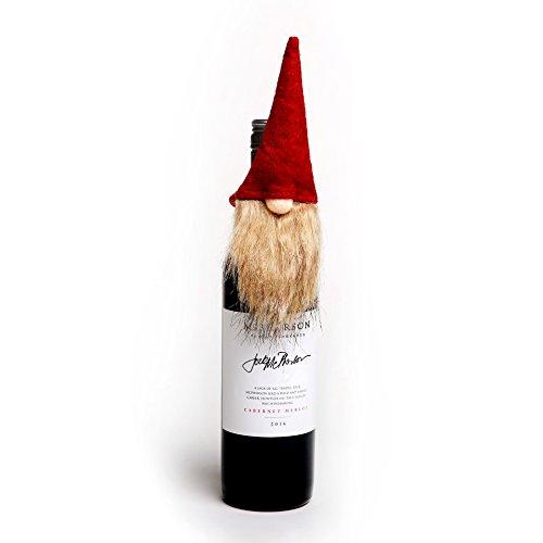 Handmade Swedish Tomte Bottle Topper, Mini Gnome Wine Bottle Topper for Home Christmas Decoration, Hostess/ Housewarming Gift, Party/ Wedding Favor Bottle Decor, Red