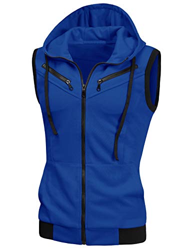 uxcell Men's Sleeveless Slim Fit Hoodie Vest Zipper Drawstring Gilet Jacket with Pockets