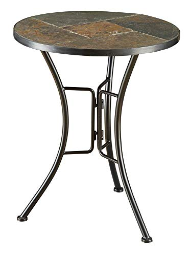(4D Concepts Slate Round Top Coffee Table, Metal/Slate)