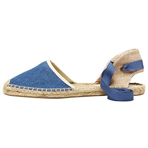 rismart Espadrilles Flat Shoes Heel Blue Sandals Slingback Women's 1w1rqRU