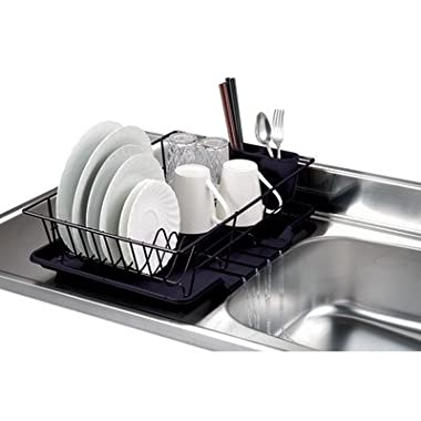 Home Basics 3-Piece Dish Drainer Set, Black [Misc.]
