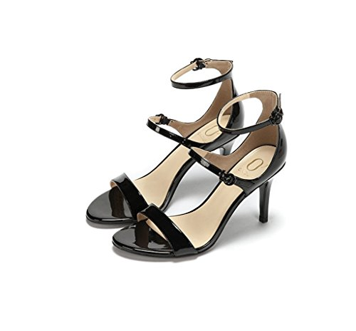 8cm Shoes High Female Summer 38 Color Elegant Sexy Black toed Heels Open Size Dream Comfortable Sandals Feet Leather Fashionable Bare ZqEPt