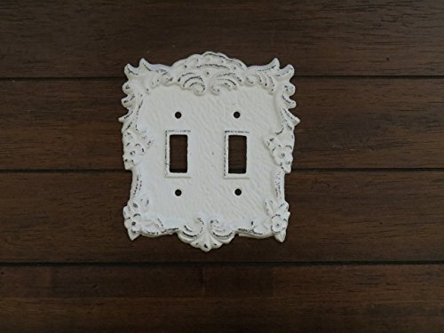 (Double Light Switch Cover Toggle Hand Painted Cast Iron Antique White Distressed Cottage Chic)