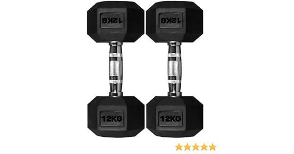 TNP Accessories goma hexagonal Pesa 2x 12kg=24kg Hexa Peso RESISTENTE CROMO Pesas JUEGO: Amazon.es: Deportes y aire libre