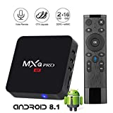 Android 8.1 TV Box with 2.4G Voice Remote,Leelbox MXQ PRO Smart Android TV Box 2GB RAM 16GB ROM Quad Core Supporting 4K (60Hz) Full HD/H.265/WiFi [2018 Update Edition]