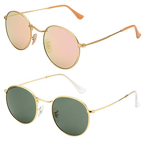 (LianSan Classic Metal Frame Round Circle Mirrored Sunglasses Men Women Glasses 3447 Green and Pink Glasses)