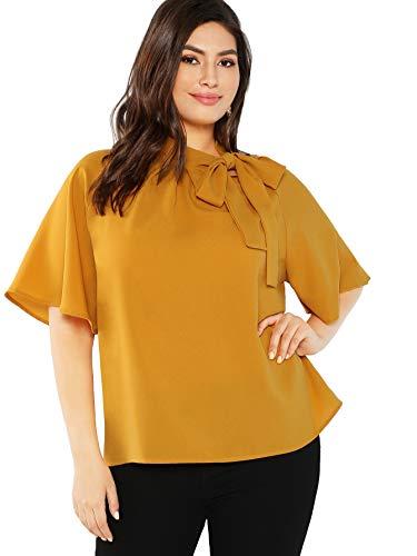 Milumia Women's Loose Ruffle Short Sleeve Tie Neck Blouse Tops Yellow 0XL