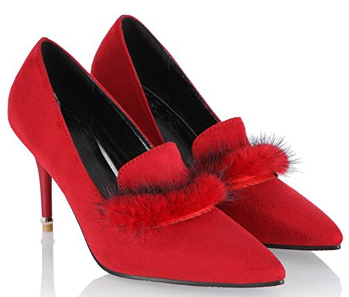 IDIFU Womens Trendy Fluffy Fur Pointed Toe Low Top Slip On Pumps High Stiletto Heels Wedding Shoes Red 2 yK4Dp