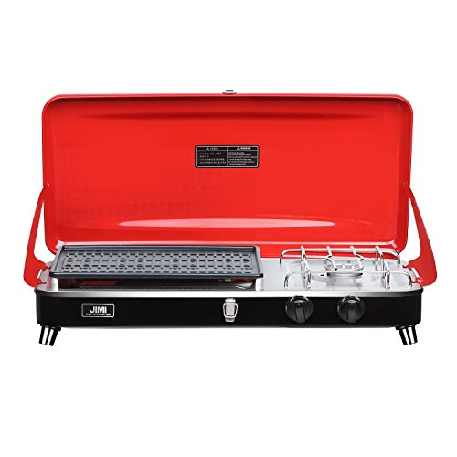 (Portable 2 Burner Grill/Stove,Camp Propane Grill with Hose and Adapter for Outdoor Cooking-Camping and Tailgating (Red))