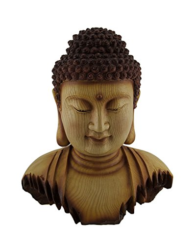 Wood Effect Buddha Head - Zeckos Resin Statues Meditating Buddha Head Decorative Carved Wood Look Statue 12 Inch 10.5 X 12.5 X 7 Inches Brown