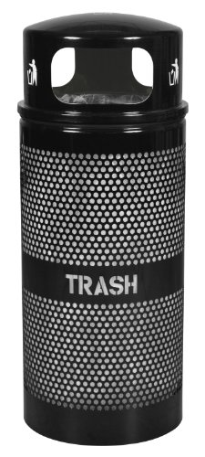 """Ex-Cell Kaiser WR-34R DM BLACK Landscape Series Perforated Trash Receptacle with Domed Lid, 34 Gallon Capacity, 18"""" Diameter x 44"""" Height, Black"""