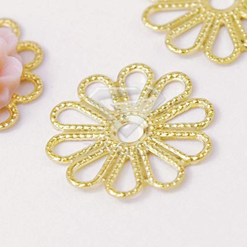 Laliva 25Pcs Raw Brass 15.5x15.5x0.5mm Cabochon Setting Flower Filigree Links Jewelry Making Finding Fit Necklace Wholesale ()
