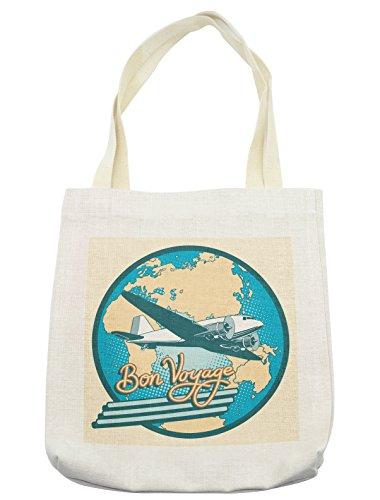 Lunarable Airplane Tote Bag, Bon Voyage Pop Art Retro Travel Tourism Map of Eurasia Africa Australia, Cloth Linen Reusable Bag for Shopping Groceries Books Beach Travel & More, (Female Australia Day Costumes)