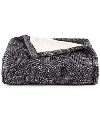 Martha Stewart Reversible Metallic Sweater-Knit Lattice Fleece Throw Grey