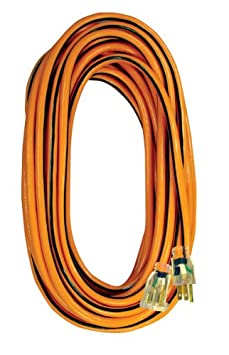 Voltec 05-00342 14/3 SJTW Outdoor Extension Cord with Lighted End, 50-Foot, Orange with Black Stripe
