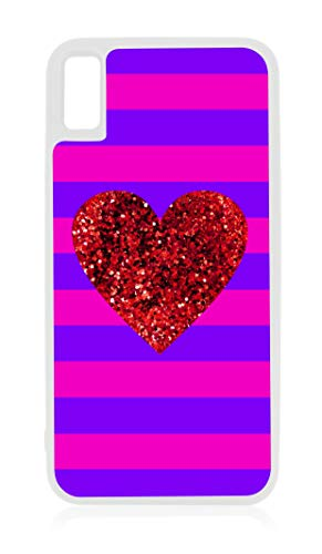 Purple Stripes with Faux Red Glitter Heart Print Design White Rubber Case for iPhone XR - iPhone XR Phone Case - iPhone XR ()