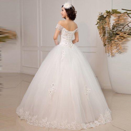 Floor Dresses White Wedding the Gown Ball Off Dearta Shoulder Women's Length Tulle qngYpqfw