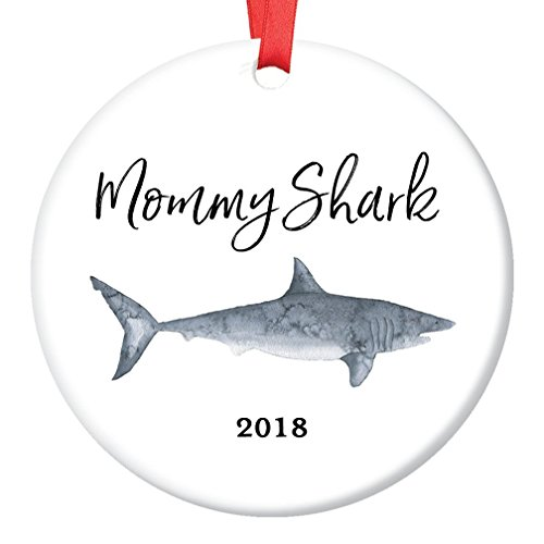 Mommy Shark Gift Ornament 2018 Christmas Tree Ceramic Collectible Holiday Present for Mom Mother Mama from Son Daughter Children Kids 3
