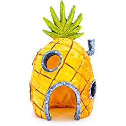 "Penn Plax Officially Licensed Nickelodeon Sponge Bob Aquarium Ornament - Sponge Bob's Pineapple House - Perfect For Fish to Swim In And Around - Full Color 6.5"" Decoration"