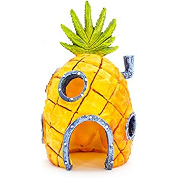 Penn-Plax Officially Licensed Nickelodeon SpongeBob Aquarium Ornament - SpongeBob's Pineapple House - Perfect for Fish to Swim In and Around - Full Color 6