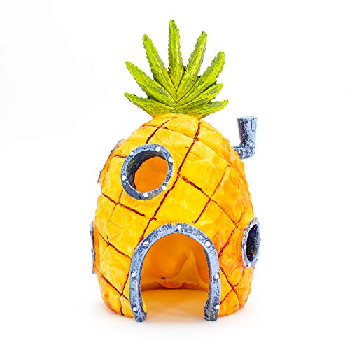 Penn Plax Officially Licensed Nickelodeon Sponge Bob Aquarium Ornament - Sponge Bob's Pineapple House - Perfect For Fish to Swim In And Around - Full Color 6.5