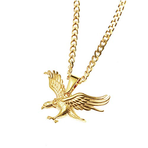 Geetobby Men Women Stainless Steel Eagle Pendant Youth Hip Hop Necklace Chain for Gift Souvenir