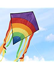 Homegoo Huge Colorful Kites, Large Easy Flyer Rainbow Kites for Adults Outdoor flying easily in strong or light winds, 120x60cm