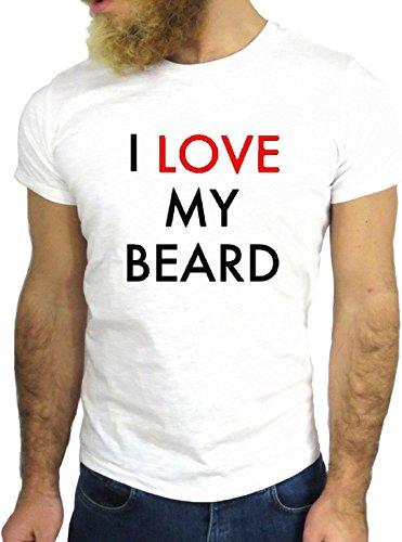 T SHIRT JODE Z1582 I LOVE MY BEARD HEART HIPSTER FUNNY LOOK COOL FASHION NICE GGG24 BIANCA - WHITE XL