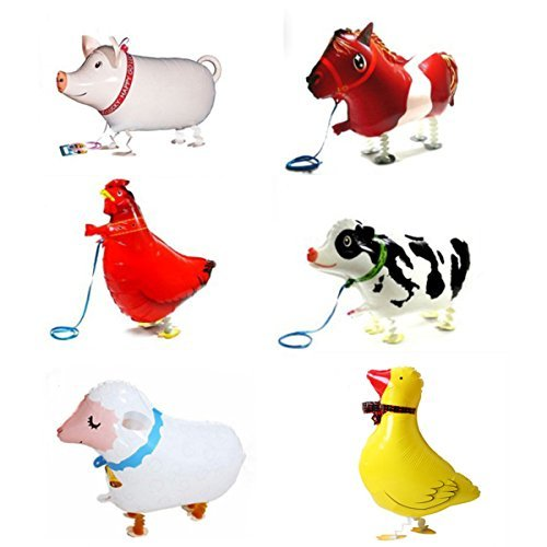 6 Piece Walking Animal Balloons Pet balloons, Animal Balloons Farm Animal Balloon for Animal Theme Birthday Party Decorations