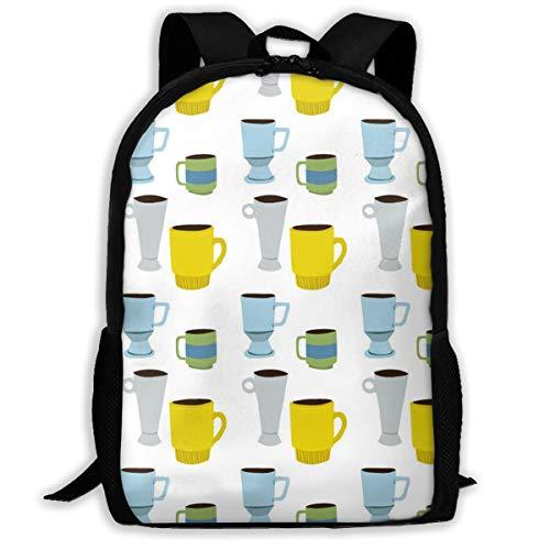 Backpack For Girls Boys Coffee Mug Pattern Zipper School Bookbag Daypack Travel Rucksack Gym Bag For Man Women ()