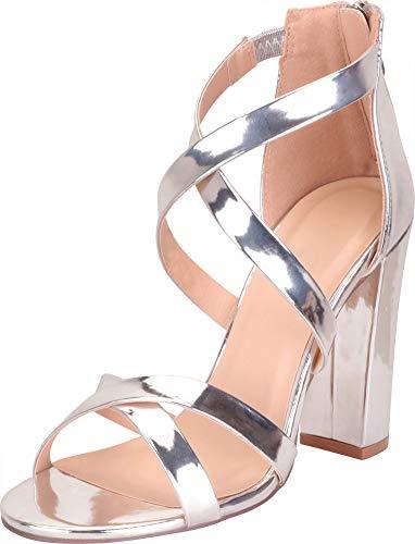Cambridge Select Women's Crisscross Strappy Chunky Block High Heel Sandal,9 B(M) US,Silver Patent PU