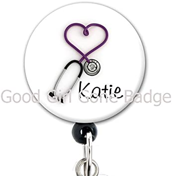 Medical Staff Retractable ID Badge Purple Rose Flower Badge Reel Lanyard Badge Reel Vet Tech Teachers Stethoscope ID Staff ID Doctor
