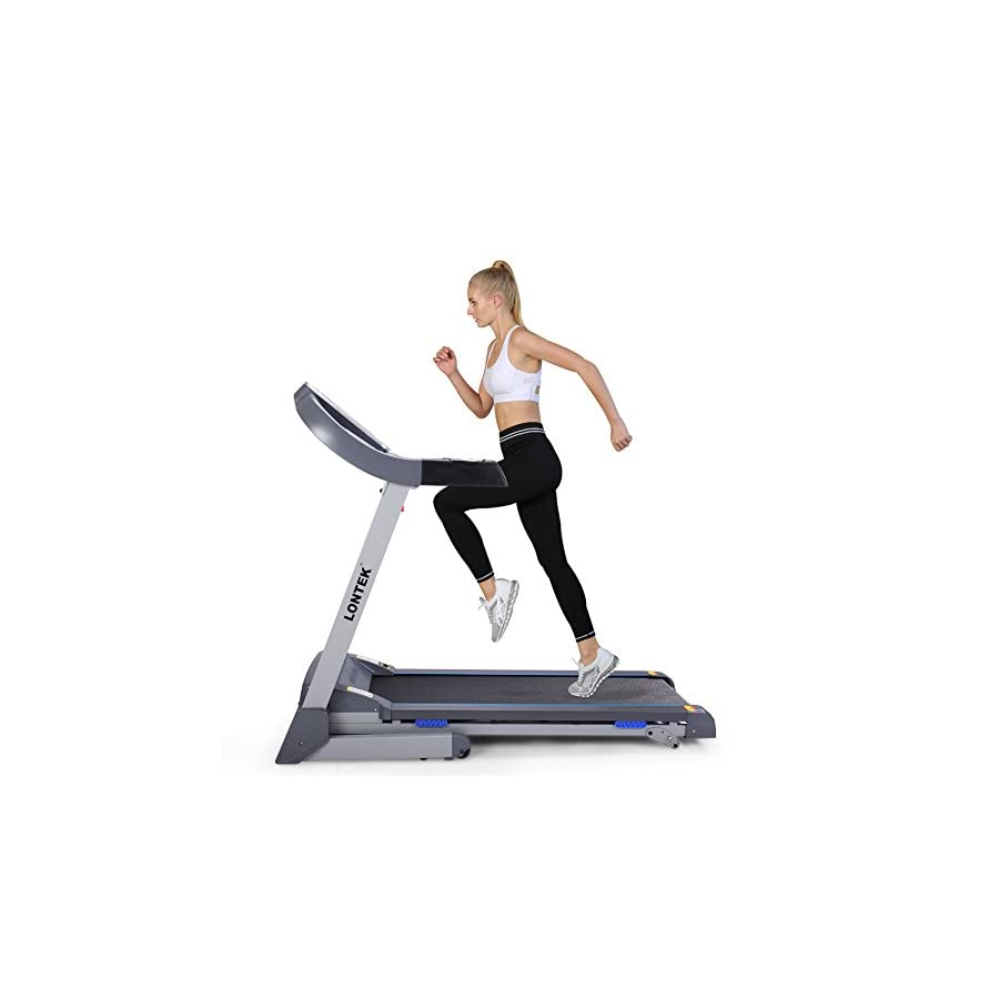 Lontek Easy Assembly Folding Electric Home Treadmill with Inclines Motorized Running Machine with MP3 Bluetooth App and Heart Rate Monitor