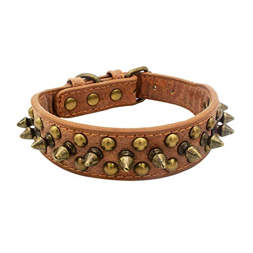 Akabsh_pet Pet Dog Anti-bite Rivets Spiked Leather Collars,Adjustable Wide Side Dogs Safe Choker