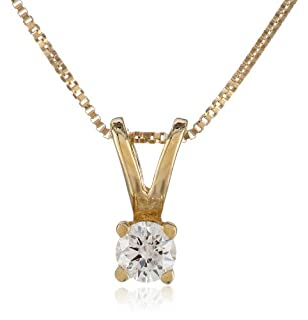 "10k Yellow Gold Round Diamond Solitaire Pendant Necklace (1/10 cttw), 18"" (B004SMGWPS) | Amazon price tracker / tracking, Amazon price history charts, Amazon price watches, Amazon price drop alerts"