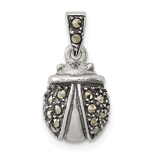 - 925 Sterling Silver Marcasite Ladybug Pendant Charm Necklace Insect Fine Jewelry Gifts For Women For Her