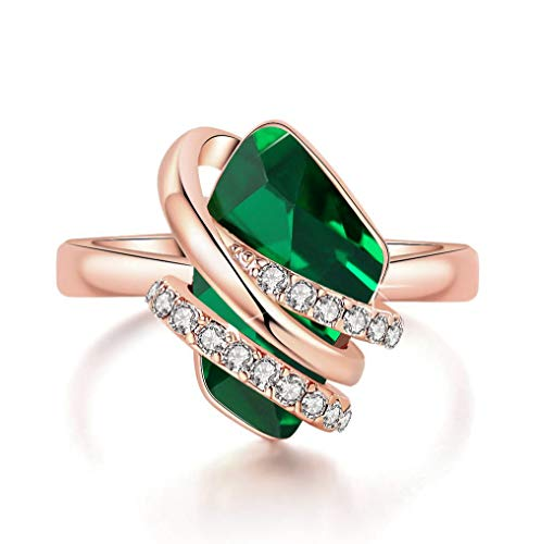 (Leafael Wish Stone Women's Adjustable Open Ring Made with Swarovski Crystals (Emerald Green Rose Gold Plated) Gifts for Women May Birthstone Jewelry, Size 6.5-8)