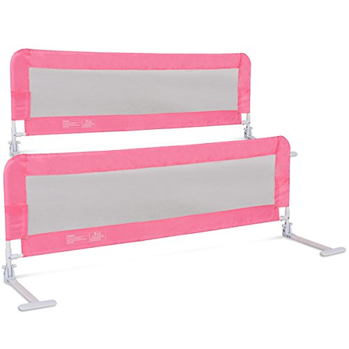 Costzon Toddlers Double Bed Rail Guard, Stainless Steel Folding Safety Bed Guard, Swing Down Bedrail for Convertible Crib, Kids Twin, Double, Full Size Queen & King, Set of 2 (Pink, 59-inch) by Costzon