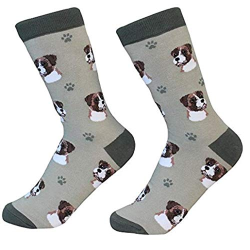 Boxer Dog Ears - Boxer Socks -200 Needle Count-Cotton Socks- Life Like Detail of Boxer - Unisex, Beige, One Size Fits Most