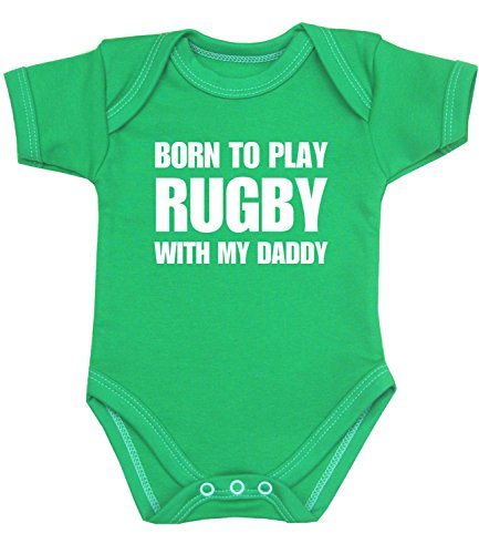 BabyPrem Born to Play Rugby with my Daddy Baby Clothes Bodysuit GREEN - Rugby Clothes England