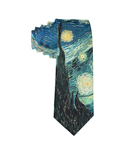 Casual Mens Necktie Suit Accessories Tie for Conference, Party, Wedding Van Gogh Starry Night
