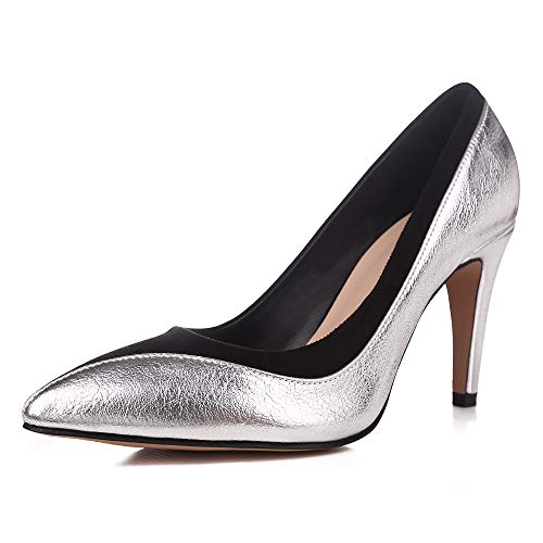 sorliva Classic Black Suede with Gold High Heels Pointed Toe Evening Dress Pumps Shoes (7, ()