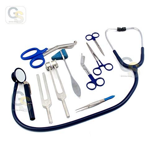 - G.S 9 Piece Diagnostic Kit in Blue Ideal for EMT, Nursing, EMS and Student (Blue) Best Quality