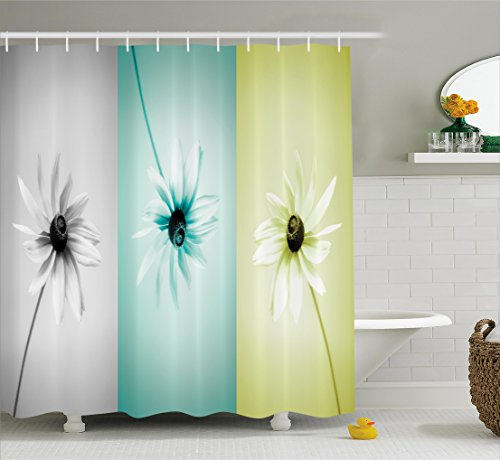 Abstract Shower Curtain by Ambesonne, Daisy Flowers in Different Featured Framed Saturated Artsy Image, Fabric Bathroom Decor Set with Hooks, 70 Inches, Turquoise Grey Avocado Green