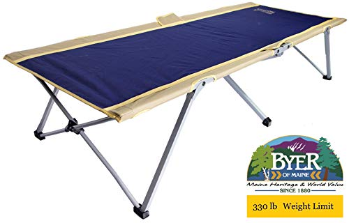 BYER OF MAINE Easy Cot, Extra Large, 78'L X 31'W X 18', Holds 330lbs, Easy to assemble, Ideal for guest bed, Camp Cots for Adults, Folding Cot, Cot for Sleeping, Comes with Travel Bag, Single