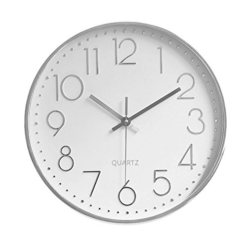 Foxtop Modern Silent Non-Ticking Wall Clock Battery Operated, Decorative Silver Wall Clock for Office Home Living Room (12 inch, Arabic Numeral, Silver Plastic Frame, Glass Cover) (Clock Modern Chaney)