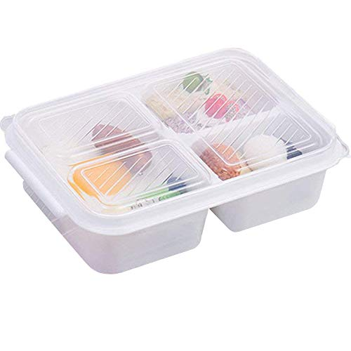 AIYoo 3 Compartment Bento Box Plastic White Food Storage Containers Reusable Lunch Boxes for children,Adults,Meal Prep Containers - BPA Free,Microwave Safe (Food Storage Containers Bap Free)