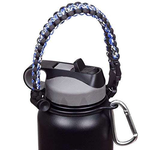Fly Skyline Paracord Handle - Paracord Carrier Holder Replacement Handle for Hydro Flask Wide Mouth Bottle (Blue Camo/Black)