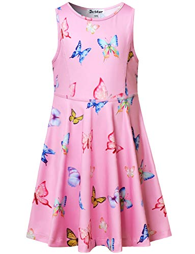 Girls Dresses Butterfly Cute Rainbow 7-16 Kid Teen Red Pink Sleeveless Casual]()