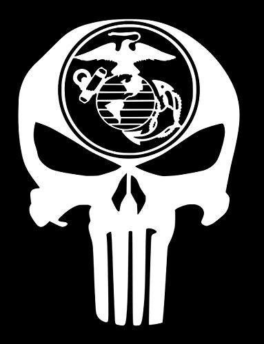 UR Impressions Mirrored Marine Eagle Globe Anchor Punisher Skull Decal Vinyl Sticker Graphics for Car Truck SUV Van Wall Window Laptop|White|5.5 X 4.3 inch|URI685